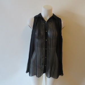 CLUB MONACO NAVY PLEATED SHEER BLOUSE SIZE M